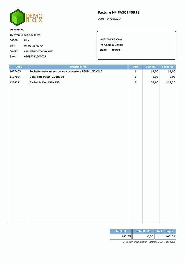 modèle de facture pour auto entrepreneur facade pinterest