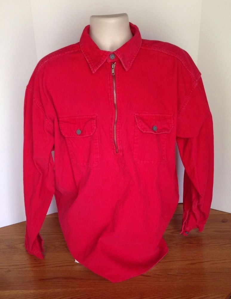 Marlboro Unlimited Red Cordrouy Pull Over Jacket Mens Size XL Cigarettes Promo