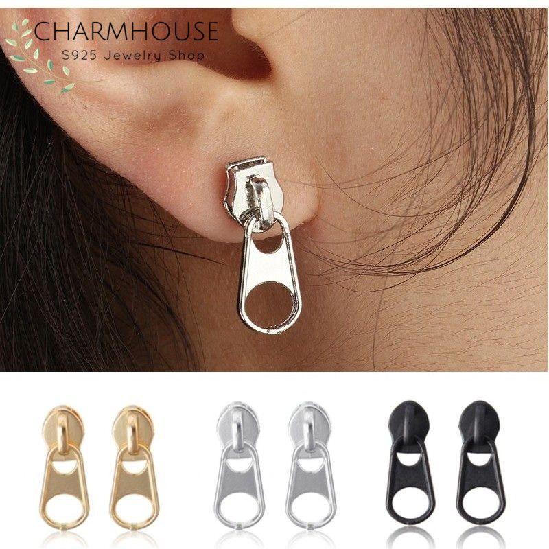 250dc90aa Personality Zipper Stud Earrings for Men Women Punk Rock Style Piercing Earring  Fashion Male Jewelry Ear Studs Pendientes Homme-in Stud Earrings from ...