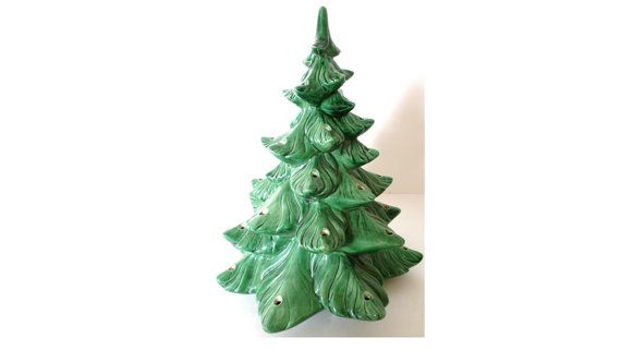 Ceramic Lighted Christmas Tree Vintage by ClearlyRustic on Etsy
