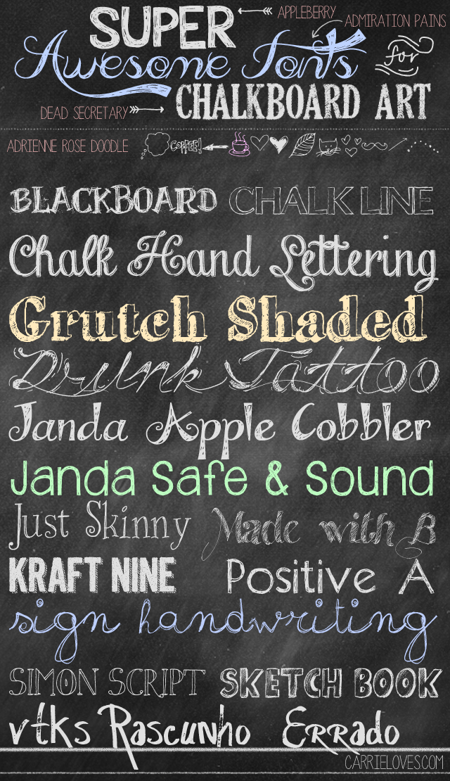 Chalkboard art fonts on pinterest summer chalkboard art Chalkboard typography