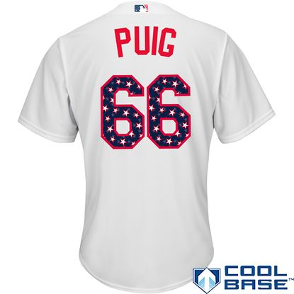 new products dd9a4 52a8b Los Angeles Dodgers Yasiel Puig Stars & Stripes Cool Base ...