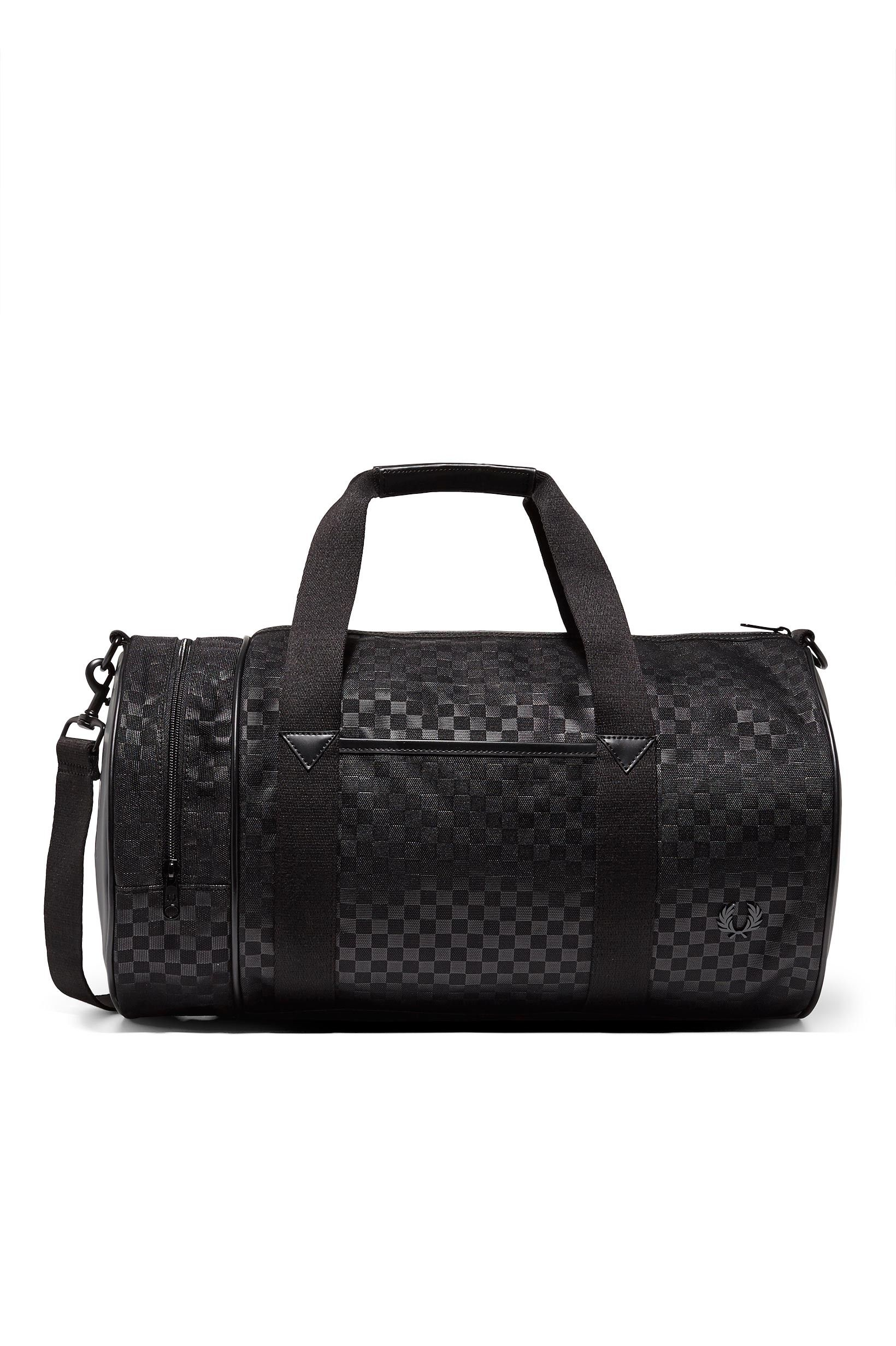 fb4138625c Fred Perry - Chequerboard Nylon Barrel Bag Black | bagz | Bags ...
