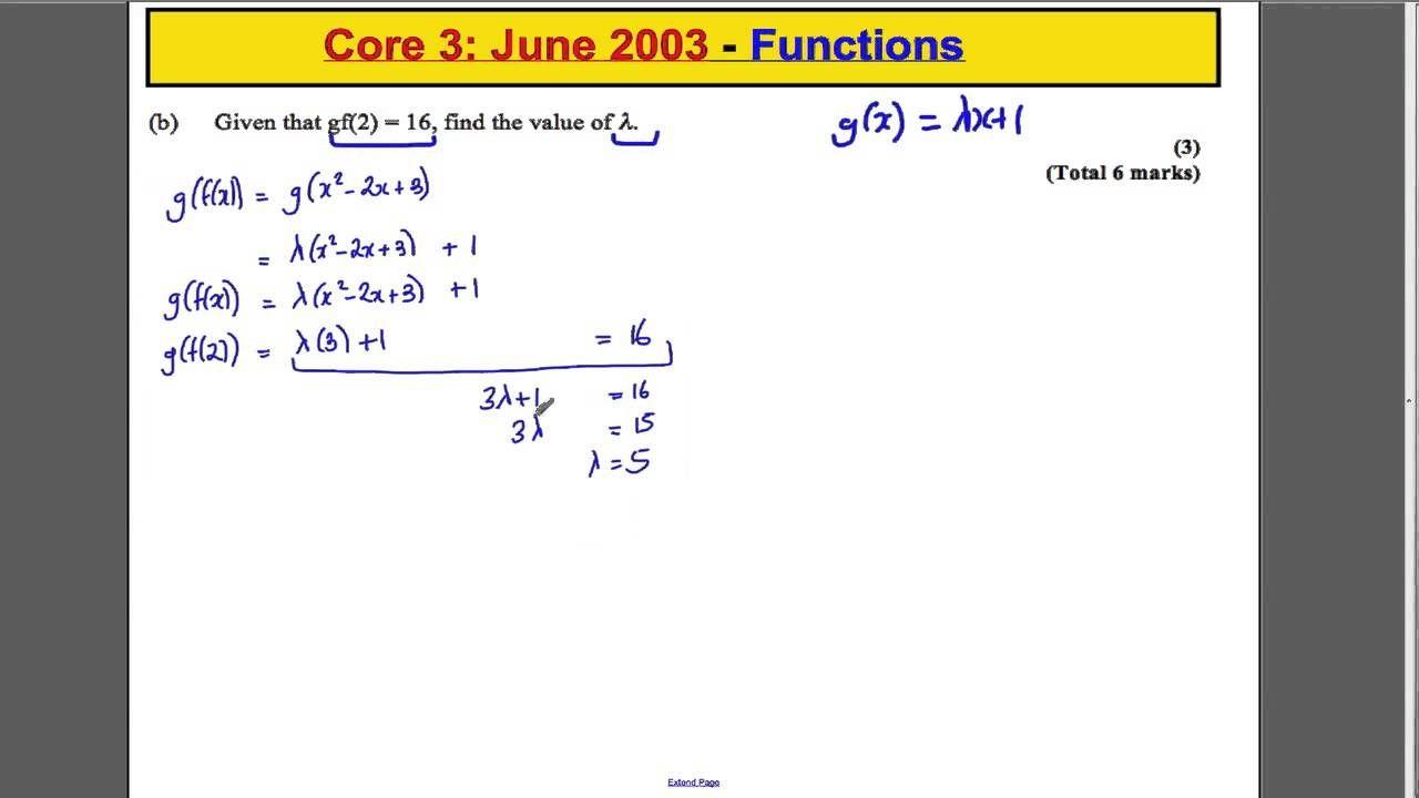 A Level Maths Edexcel Core 3 Past Paper Questions Functions