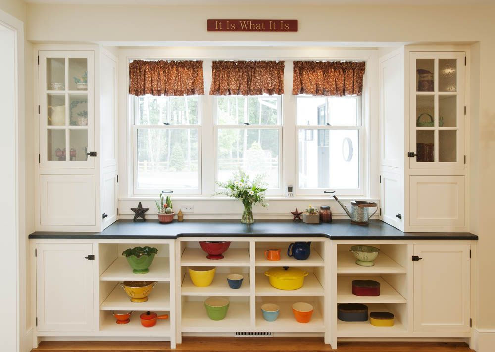 nice combination of open, closed, and glass-front cabinets in this ...