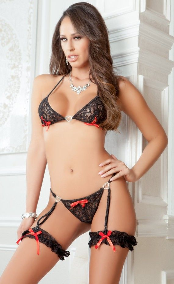 e2a2ccd134ab G World 3 Piece Sexy Lovers Garter Thong & Bra set. Show your love in this sexy  lingerie set with delicate guipure lace bra and garter thong with contrast  ...
