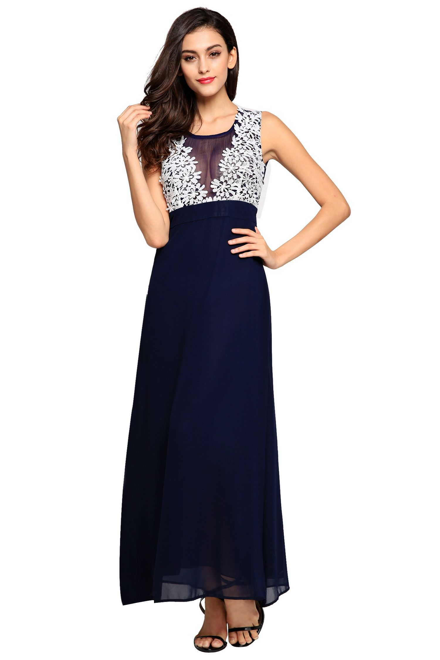 Oneck floor length bridesmaid lace patchwork prom evening dress