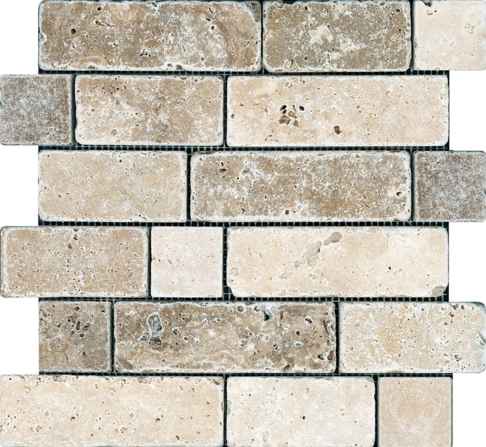 Chiaro Tile Backsplash: Chiaro / Noce Random Brick Tumbled Mosaics