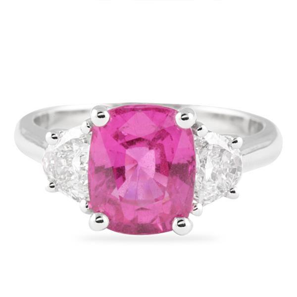 3.45 CT #PINK #SAPPHIRE AND #DIAMOND 18K #WHITE #GOLD #RING  #laurenb #lepozzi #engagementrings #brides #bridal #weddings #wedding #diamonds #nycjewelry #engagement #weddingday