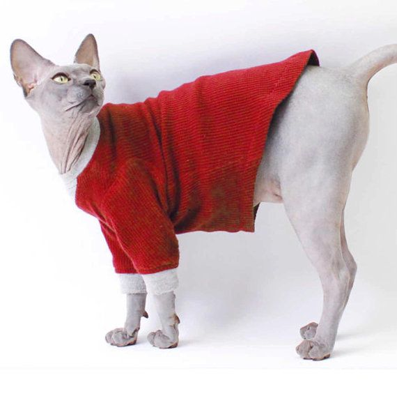 Cat Clothing Thermal Long Sleeved Top Red Black Grey Cat Pajamas Combo Cat Clothes Dog Clothes Warm Long Sleeves Sphynx Cat Popular For Sphynx Cats Sphyn