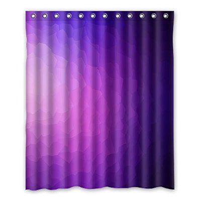 Purple Light Color Gradient Shower Curtain Polyester Bathroom