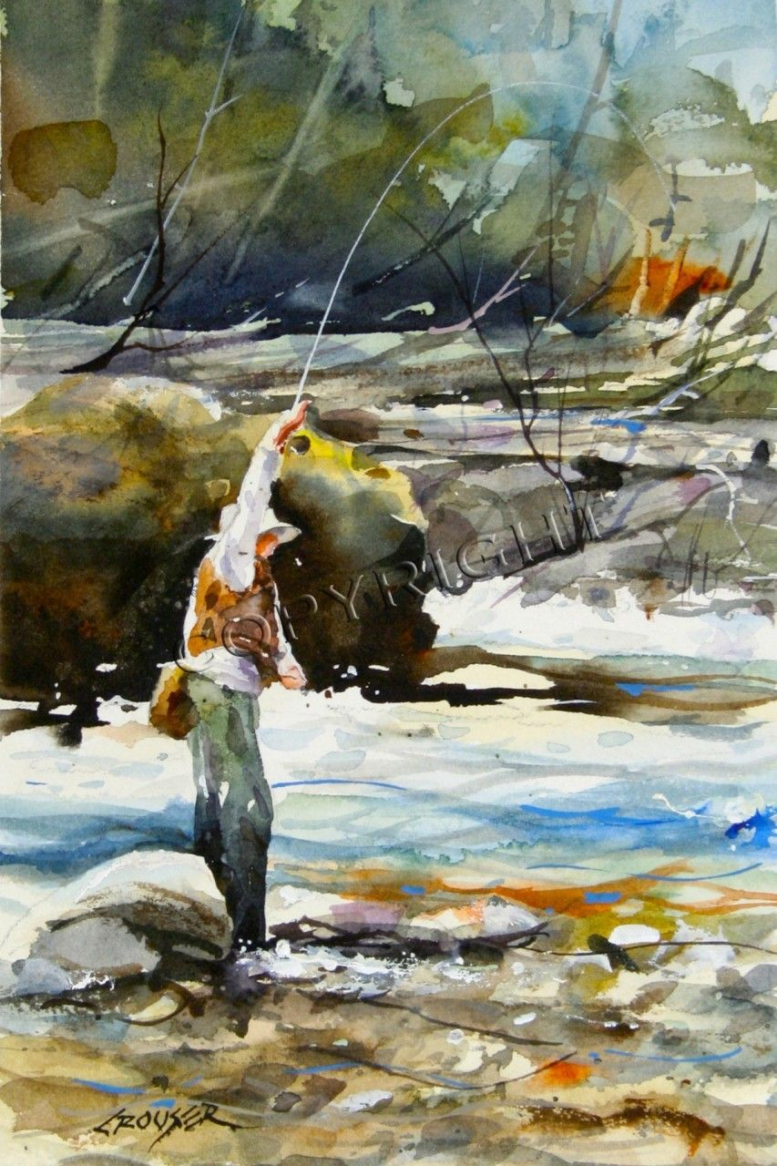 In The Fast Water Fishing Art Fish Fly Fishing Watercolor