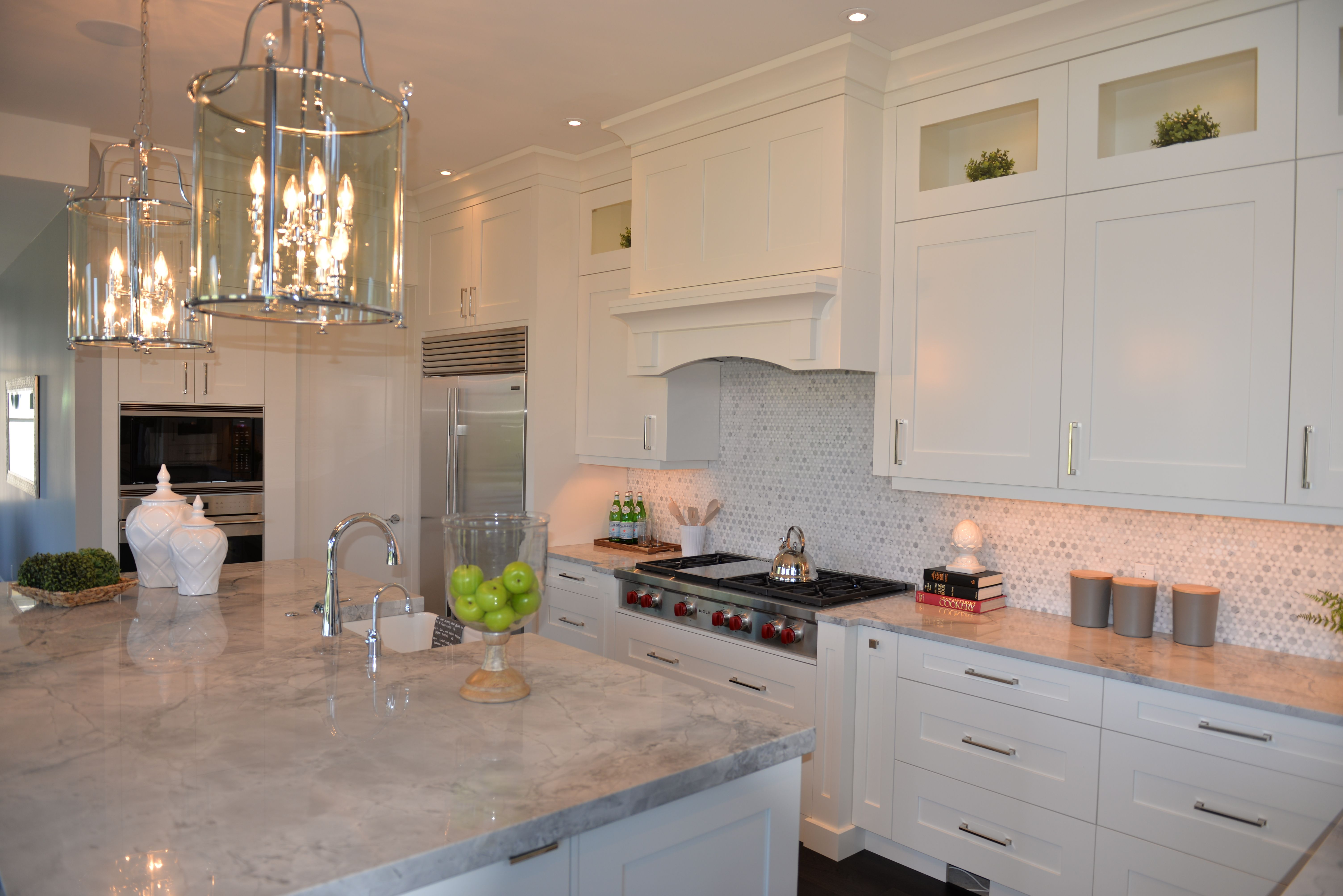 A custom white #kitchen with grey #quartz counter tops & custom ...