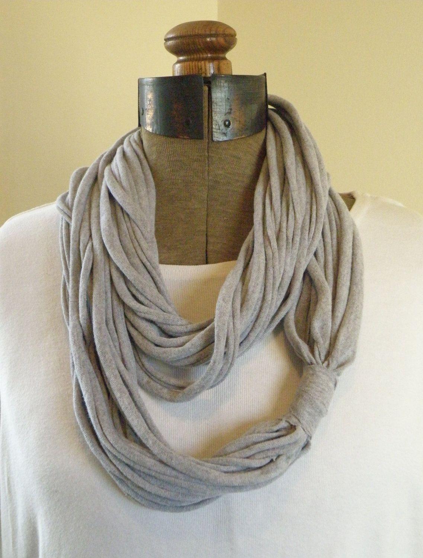 Jersey Knit Infinity Scarf GREY Knit infinity scarf