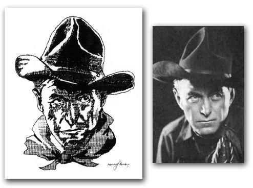 """In 1928 the Houston Post-Dispatch and the Remington Rand Business Service sponsored a contest where readers could submit images """"drawn"""" on a typewriter. An image of silent film star and Wild West actor Harry Carey that earned W. Graham Darby, of 106 67th St., the first-place prize: a $60 Remington portable typewriter."""