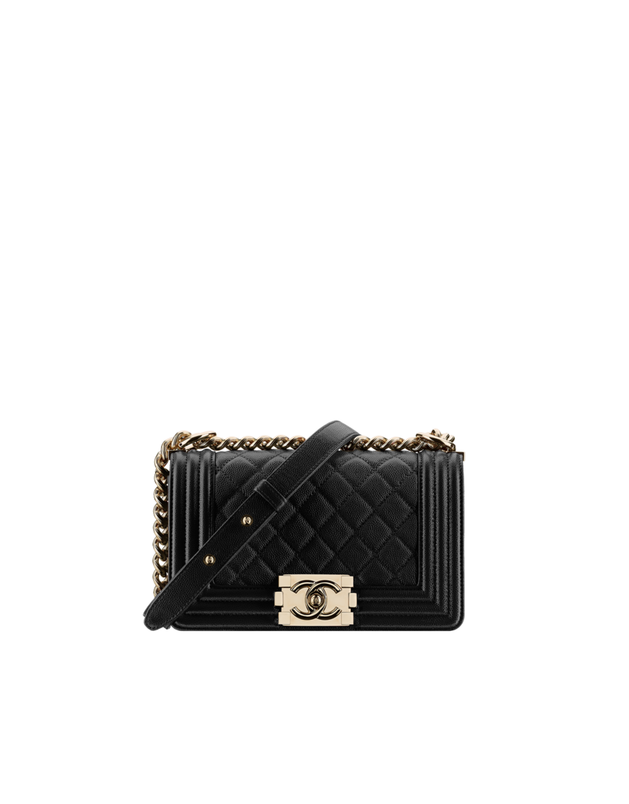 6cbe0073dbbd Small BOY CHANEL handbag, grained calfskin & gold-tone metal-black - CHANEL