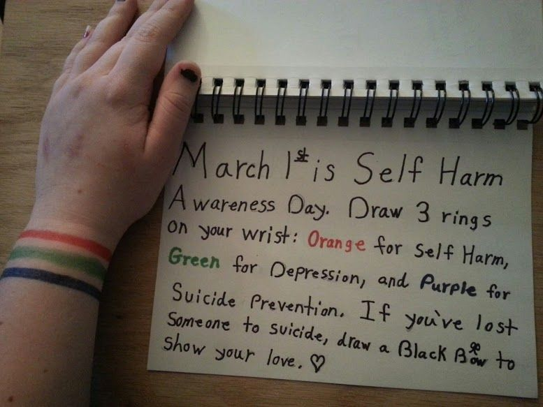 Drawing Lines On Your Wrist : March st is self harm awareness day draw rings on your