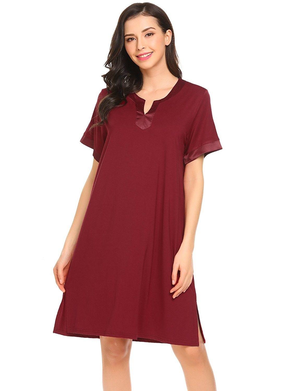 Women s Nightshirt Sleepwear Short Sleeve Nightgown Sleep Dress - A-wine Red  - C31809N3SN7 fe2870e1c