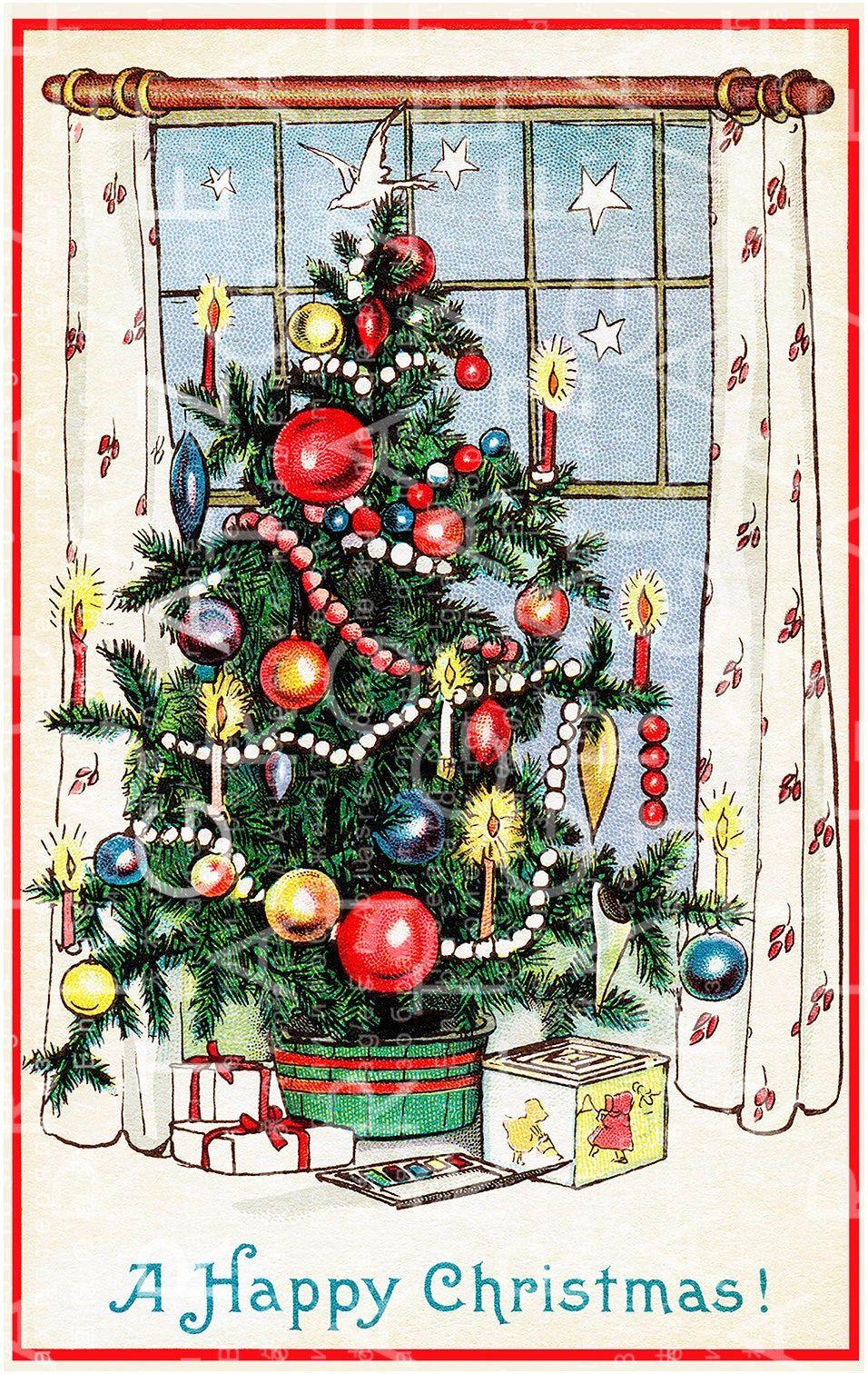 A Beautiful Classic Christmas Tree Printable Christmas Card Etsy Classic Christmas Cards Christmas Cards Free Classic Christmas Tree