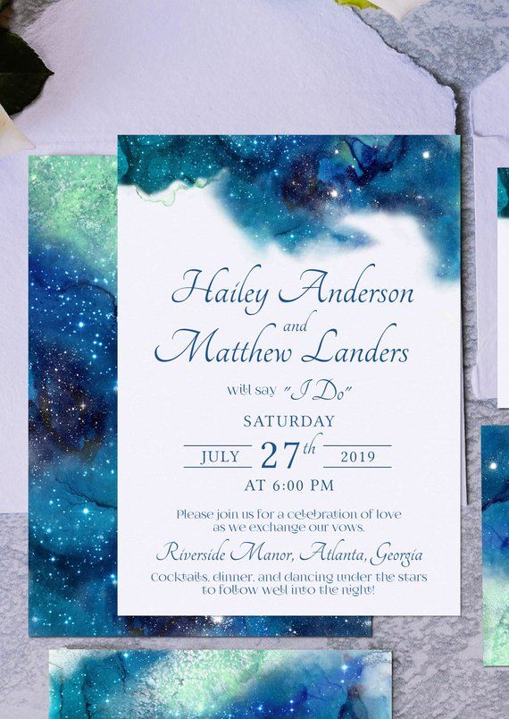 Galaxy Digital Wedding Invitation Suite Starry Night Wedding Etsy Digital Wedding Invitations Wedding Invitations Starry Night Wedding
