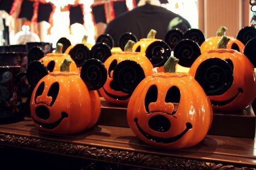 An army of Mickey Mouse Jack O'Lantern Ceramic Candle Holders.  A wonderful decoration.  Can't make it to a Disney theme park?  Why not check for these on eBay?  Perfect decoration for a Mickey's Not-So-Scary Halloween Party.
