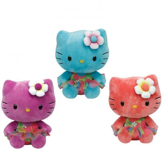 TY Beanie Babies - HELLO KITTY Set of 3 with Flowers (Rose, Purple & Turquoise)