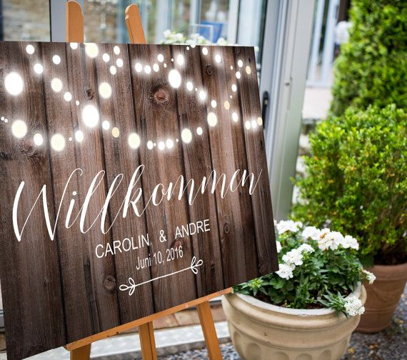 Wel e sign Wedding Desk Wood digitally printout sign reception