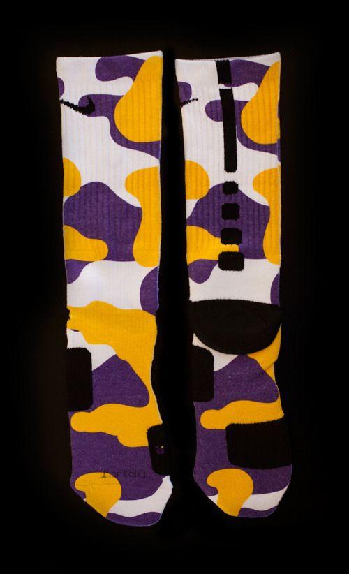1cb1c2d0c9b3 Custom Nike Elite Socks Website Thesockgame.com - Highest Quality Custom  Elites   Socks — Purple Yellow Camo Custom Socks - Inspired by the Lakers  NBA Team