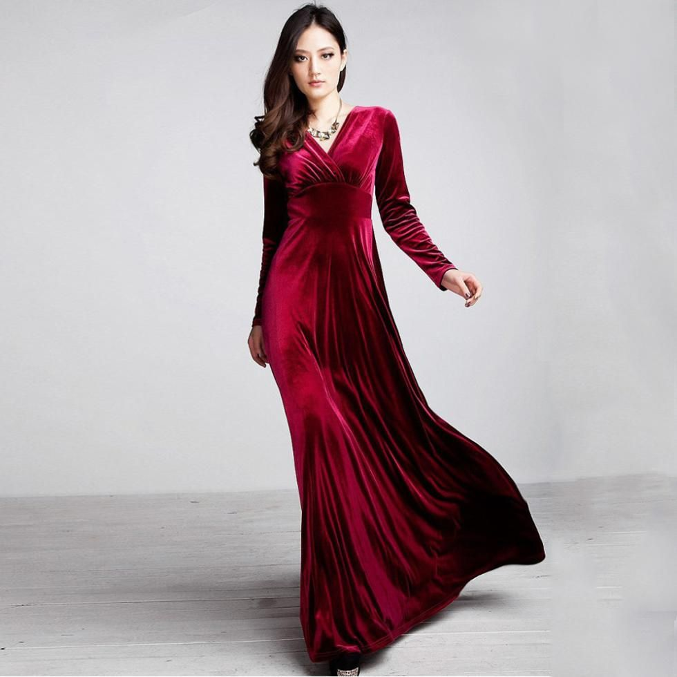 Fashion Spring Autumn Sexy Elegant Lady Velvet Warm Maxi Dress Women Long  Sleeve Deep V Ankle Length Dress-in Dresses from Women s Clothing    Accessories on ... c500f64e72fc
