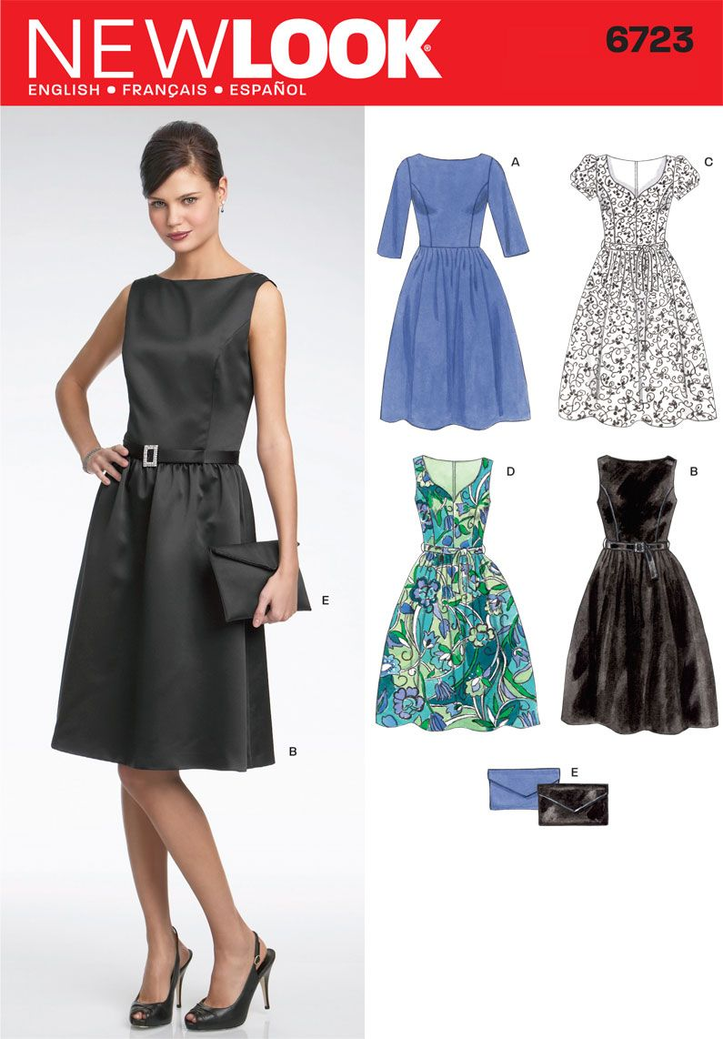 Womens Day or Evening Dress and Pattern 6723 New Look Patterns ...