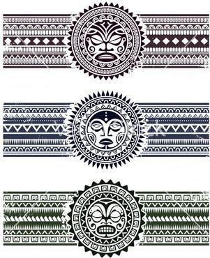 Polynesian Tattoo Styled Masks With Pattern Bracelets Vector Illustration Maoritattoosdesigns Maori Tattoo Tribal Armband Tattoo Maori Tattoo Arm