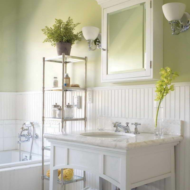 Bathroom , Charming Beadboard Wainscoting In Bathroom : White Beadboard  Wainscoting In Bathroom With Green Walls And Medicine Cabinet With Mirror  And ...