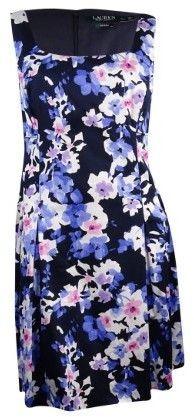 Lauren Ralph Lauren Women's Scoop-Neck Floral Sundress (20W, Navy/Pink/Multi)