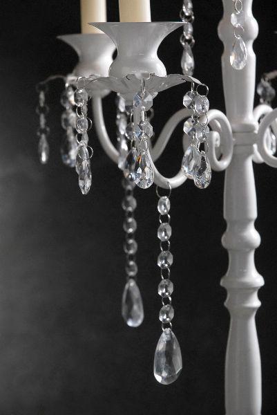 Crystal Candelabra On White Pedestal 32in Crystal Candelabra Shabby Chic Candelabra Candelabra