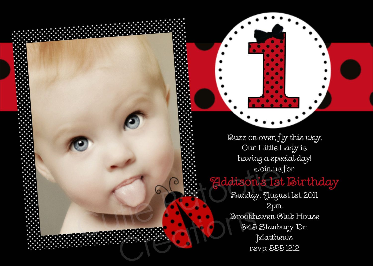 Ladybug Birthday Invitation 1st Birthday Ladybug Birthday Party