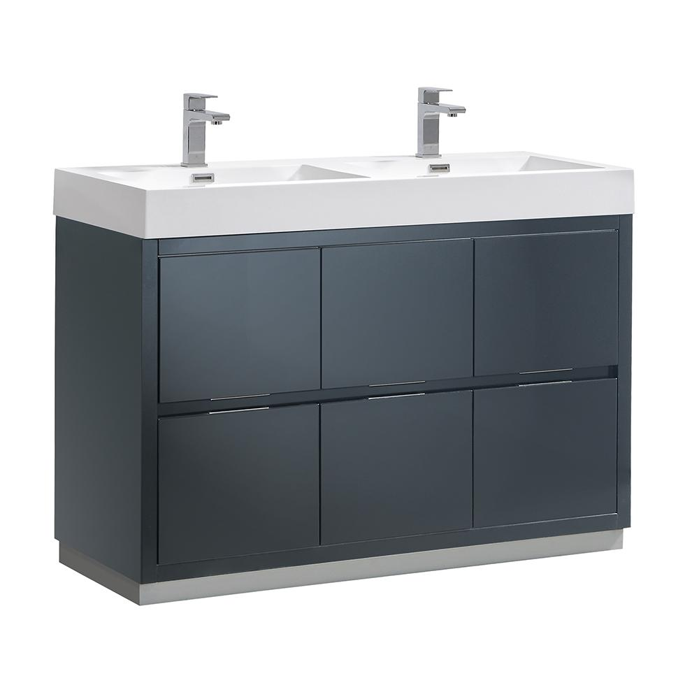 Fresca Valencia 48 In W Bathroom Vanity In Dark Slate Gray With