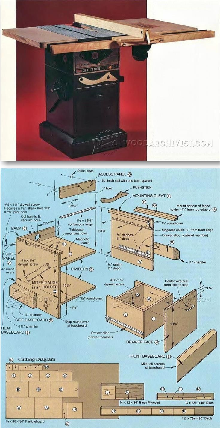 table saw stand plans table saw tips jigs and fixtures rh pinterest ca table saw stand with wheels plans Craftsman Table Saw Stand Plans