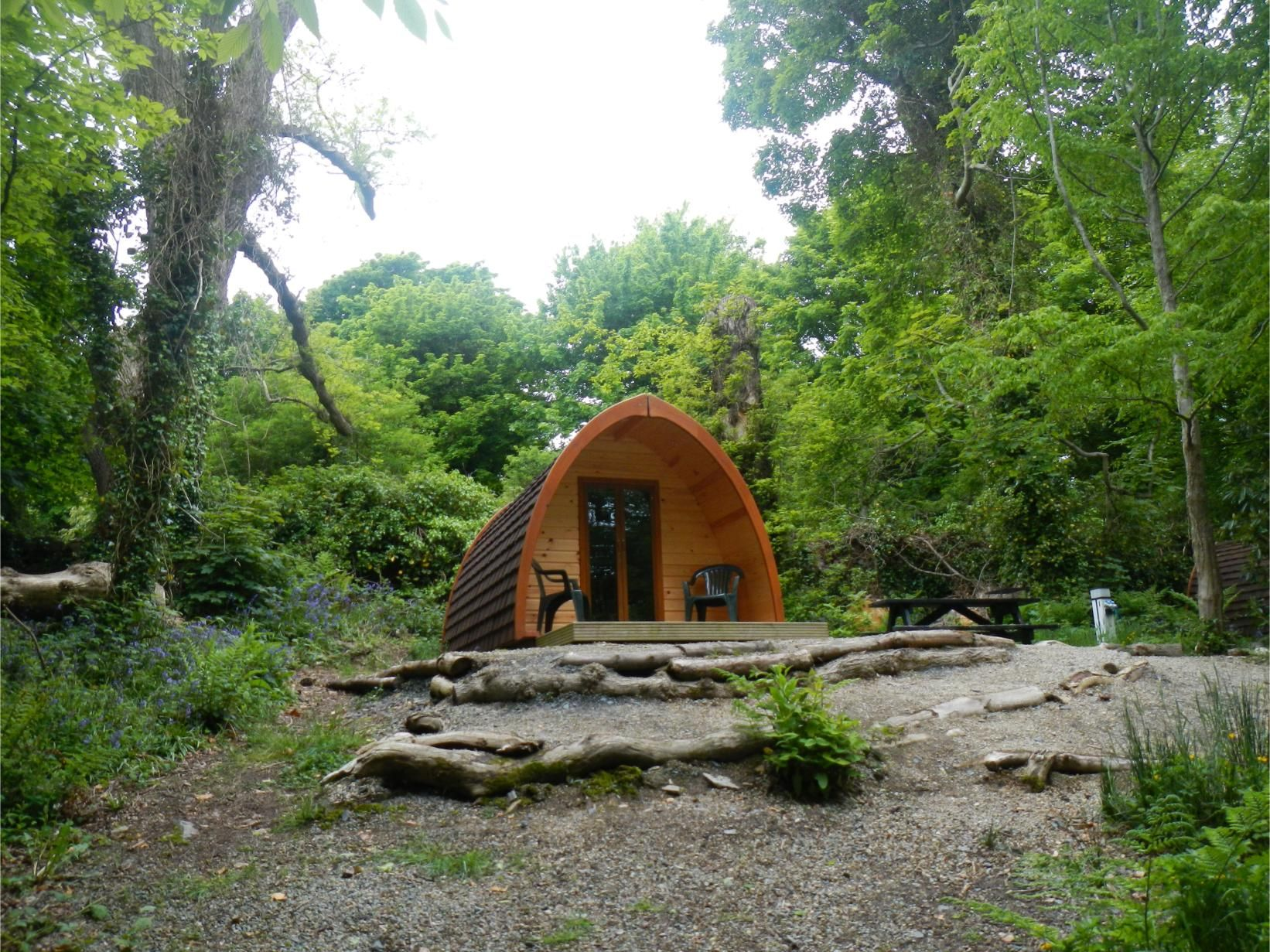 Camping pod at castle ward campsite strangford lough for Garden pods to live in