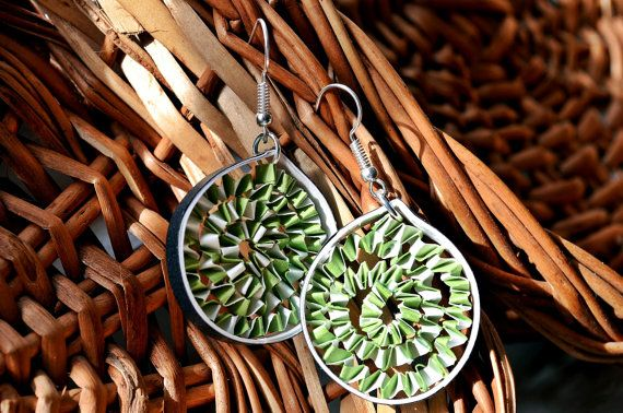 Eden Green Teardrop Quilling Earrings Free Shipping by thoughtwork