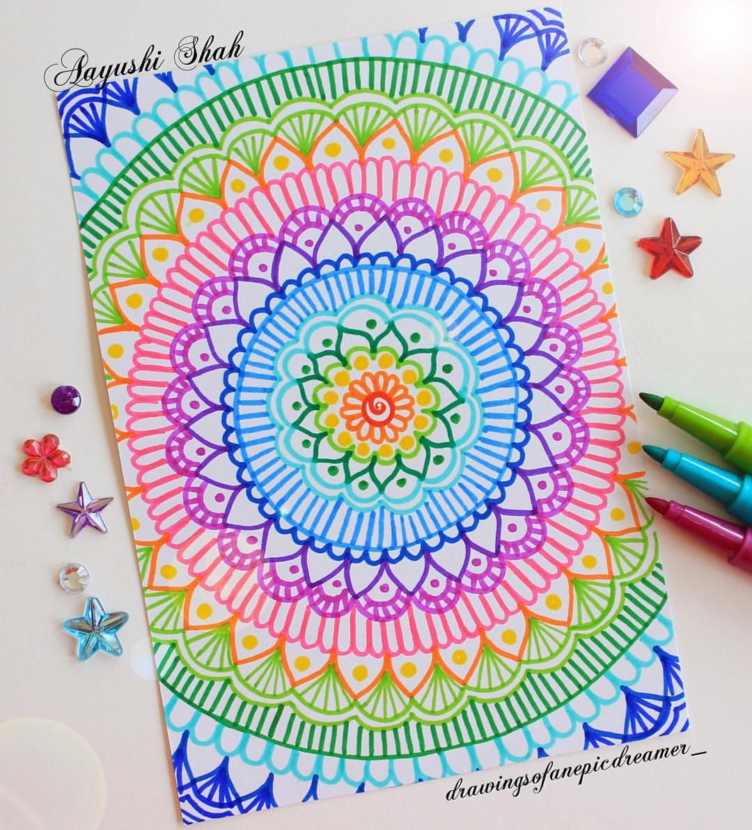 Aayushi On Instagram New Obsession Felt Tip Markers Just Wanted To Remind You That You Are Wonderful And Amazi Marker Art Mandala Drawing Mandala Doodle