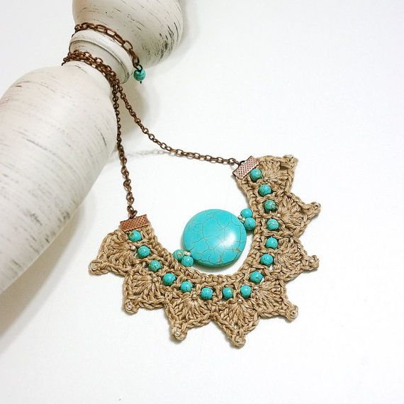 Linen Jewellery: Necklace Linen 100% Crochet Necklace Linen Fiber By