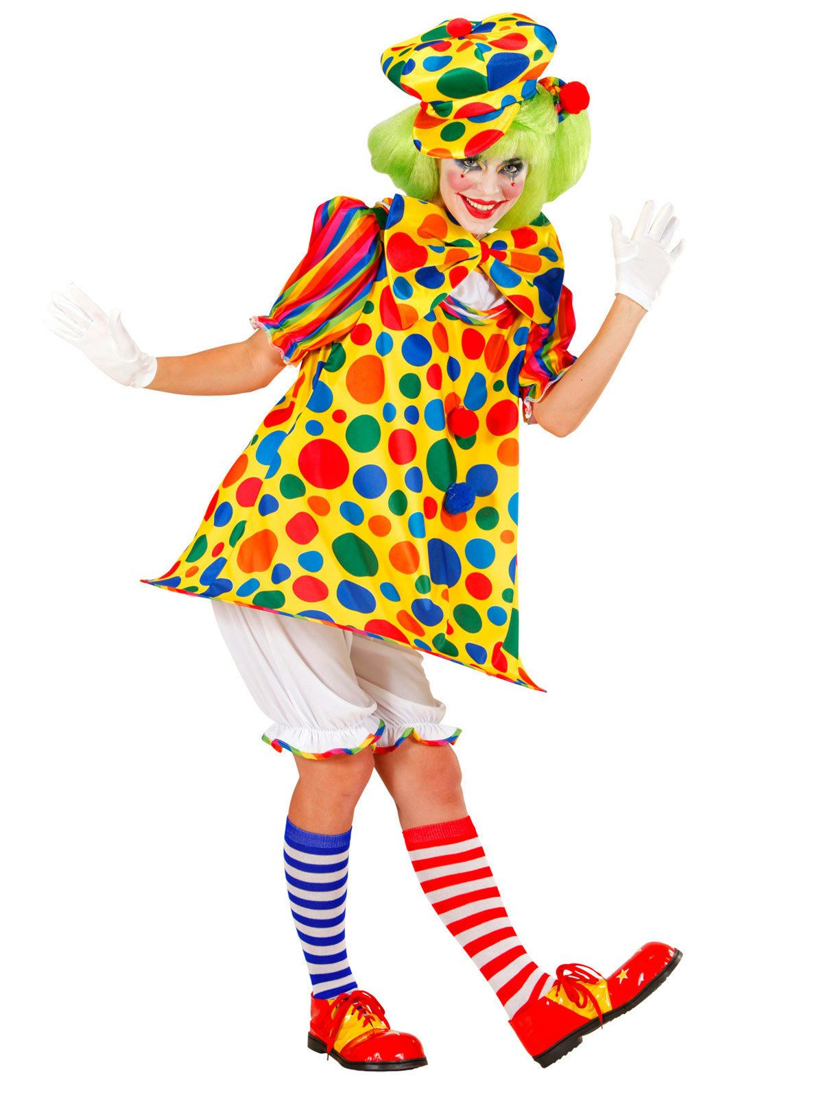 Süsse clownfrau damenkostüm zirkus bunt