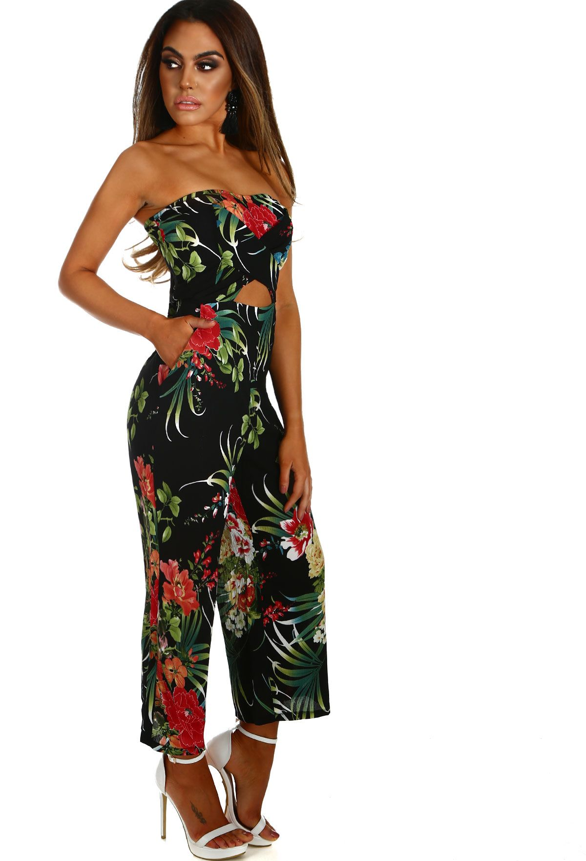 e9ad2d25db3e Heart Is In Havana Black Floral Strapless Culotte Jumpsuit