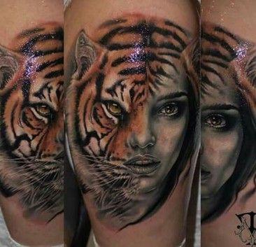 Pół Kobieta Pół Tygrys Tatuaże Tattoos Tiger Face