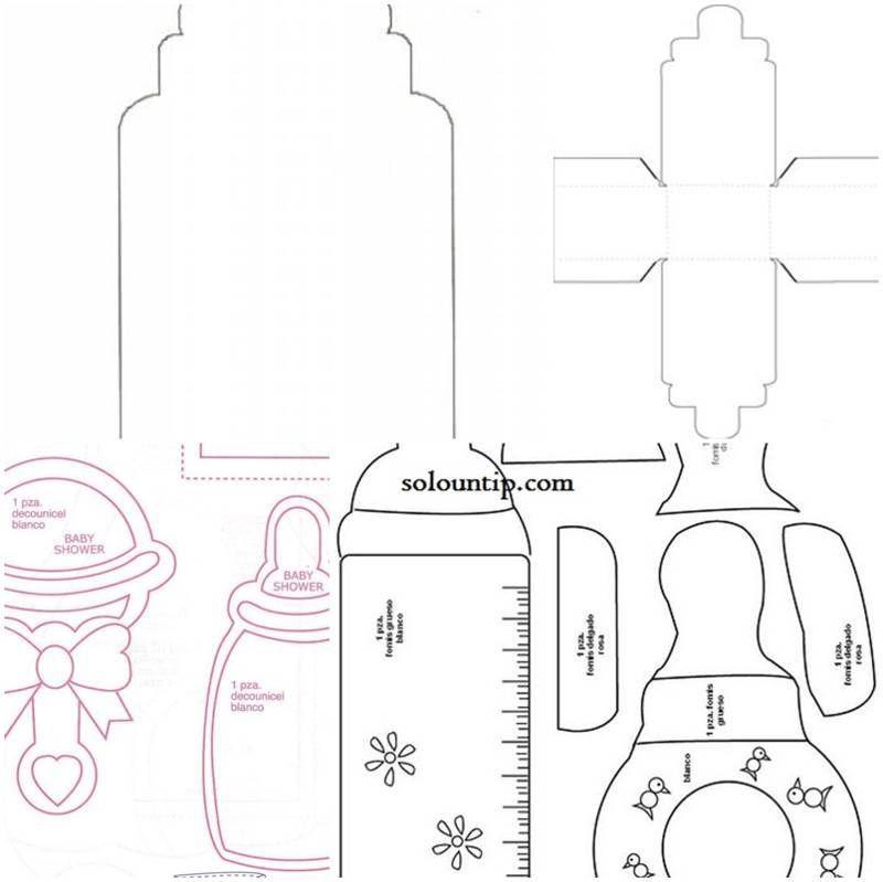 Moldes de biberones para baby shower en foami cosas que - Cosas de goma eva ...