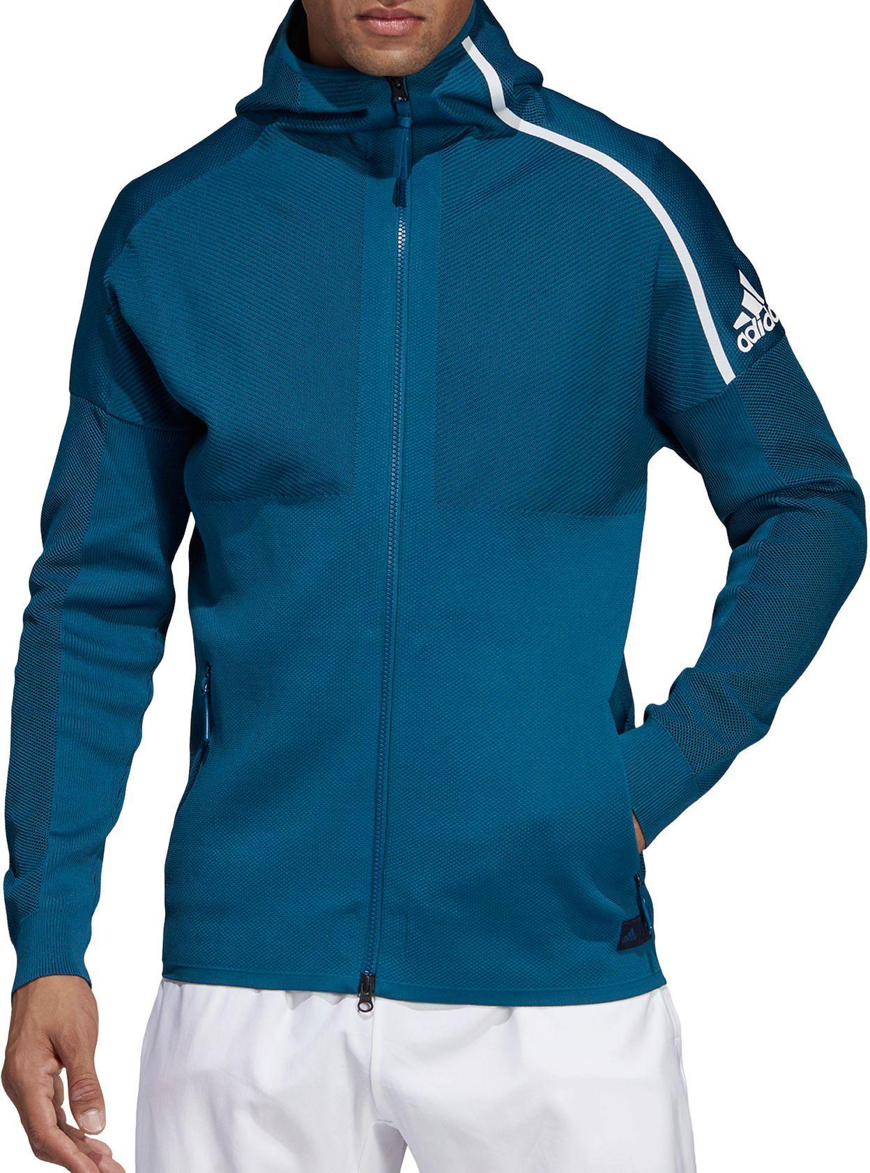 ADIDAS MENS Z.N.E. Parley Primeknit Hoodie Grey White Sports