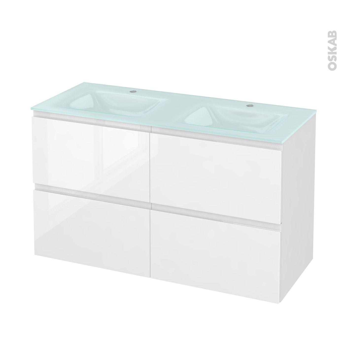 Salle de bains blanche design chic IPOMA Blanc brillant
