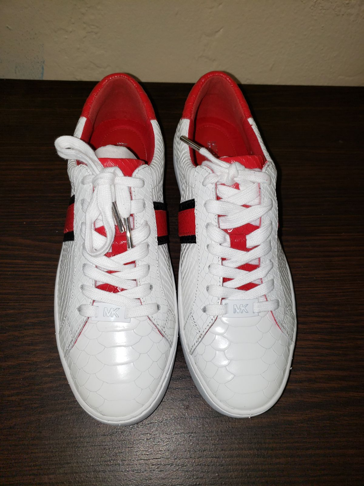 Michael Kors red and white mk sneakers