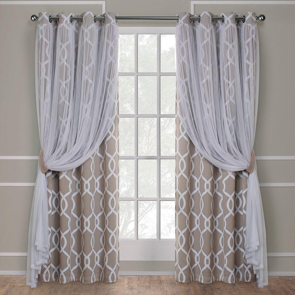 ATI Home Carmela Layered Blackout and Sheer Curtain Panel Pair w