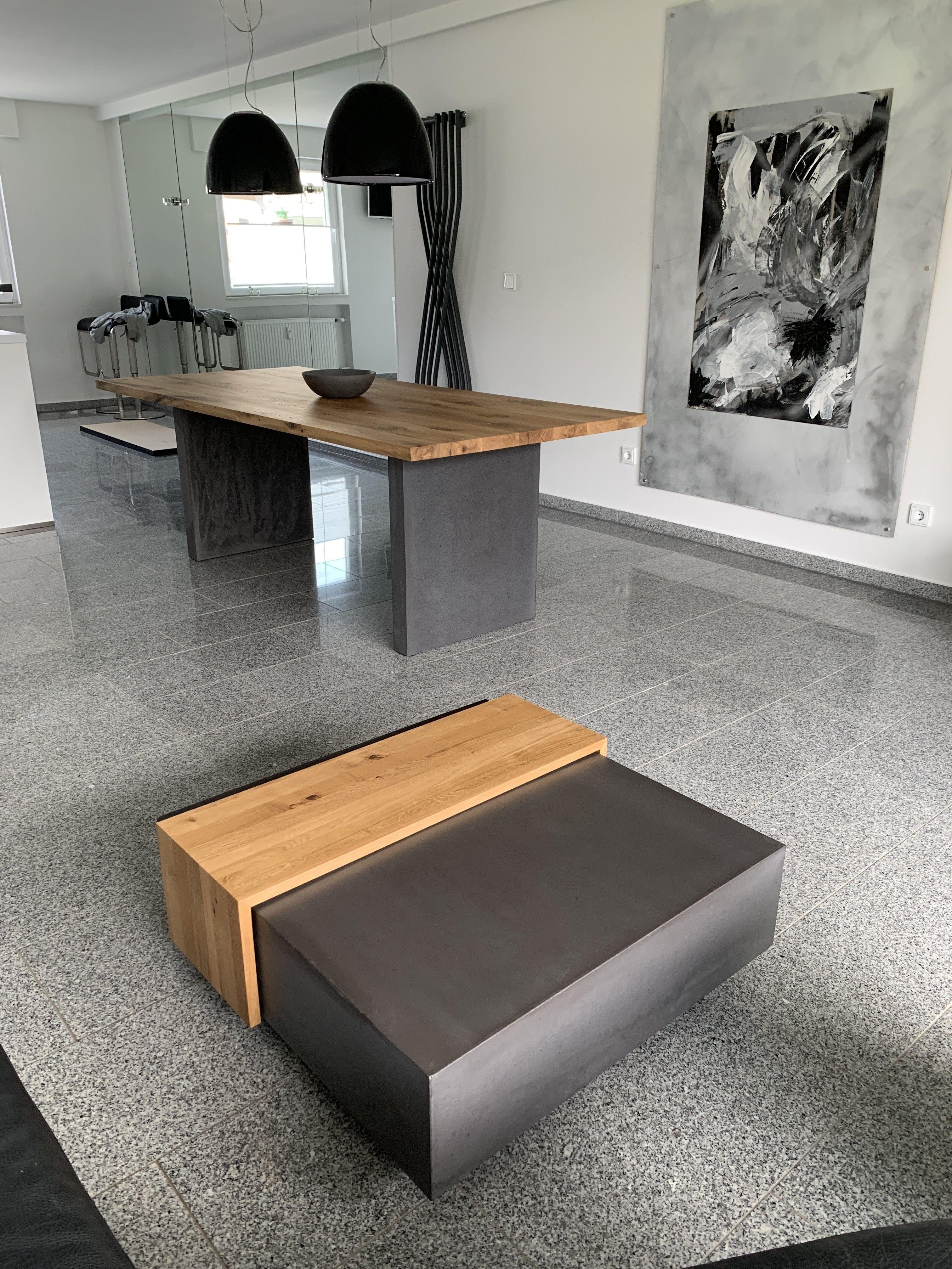 Esstisch & Couchtisch Kombination in Holz & Beton  Couchtisch